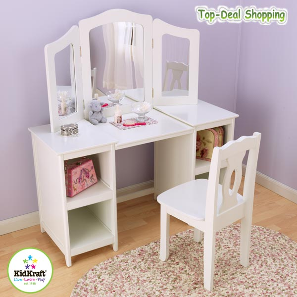 kidkraft luxus frisiertisch mit stuhl kinderkommode schminktisch ebay. Black Bedroom Furniture Sets. Home Design Ideas